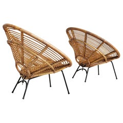 "Pair of Rattan ""Soleil"" Armchairs, France, 1960"