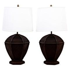 Pair of Rattan Table Lamps