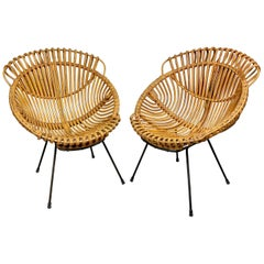 Pair of Rattan, Wicker and Iron Armchairs, France, 1960s