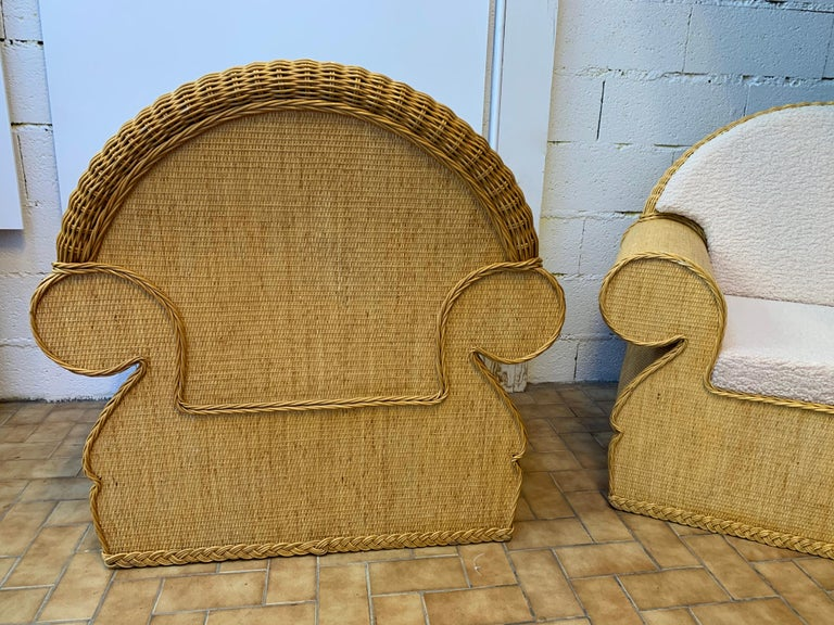 Pair of Rattan Wicker Club Armchairs, Italy, 1970s For Sale 3