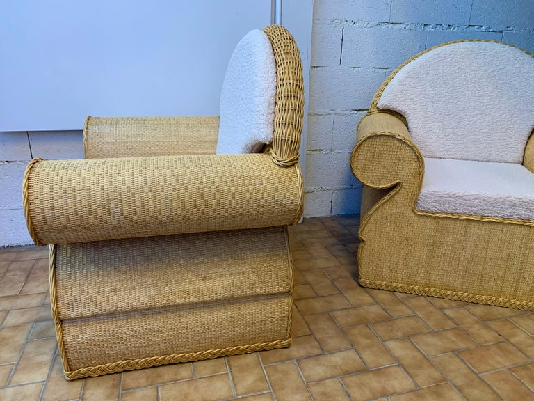 Pair of Rattan Wicker Club Armchairs, Italy, 1970s For Sale 6