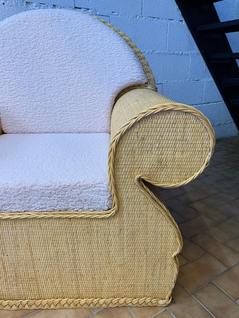 Pair of Rattan Wicker Club Armchairs, Italy, 1970s In Good Condition For Sale In SAINT-OUEN, FR