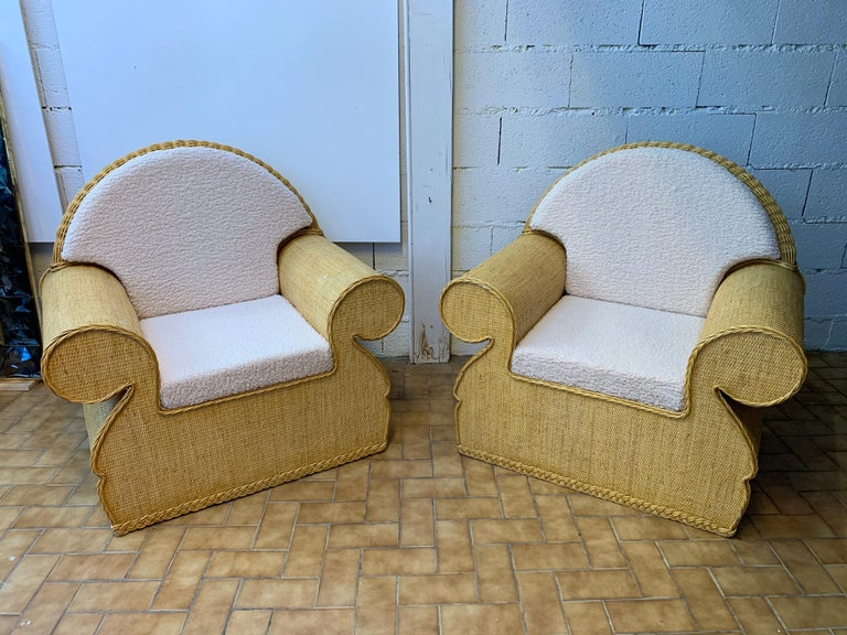 Late 20th Century Pair of Rattan Wicker Club Armchairs, Italy, 1970s For Sale