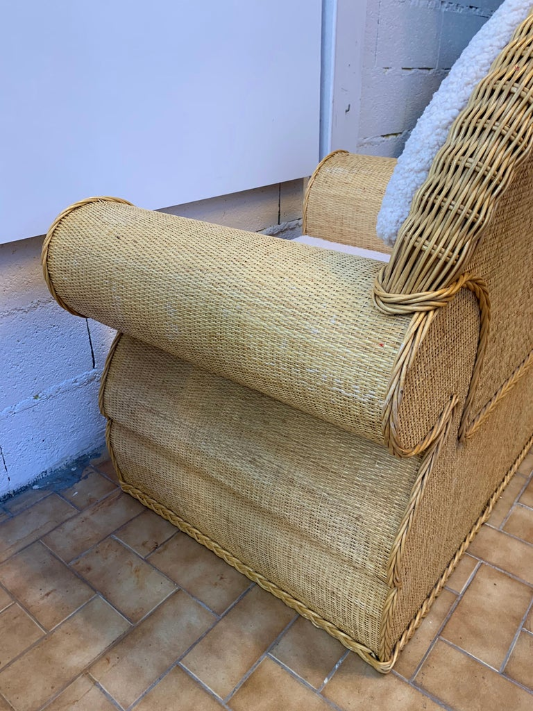 Pair of Rattan Wicker Club Armchairs, Italy, 1970s For Sale 1