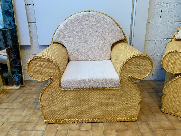 Pair of Rattan Wicker Club Armchairs, Italy, 1970s For Sale 2