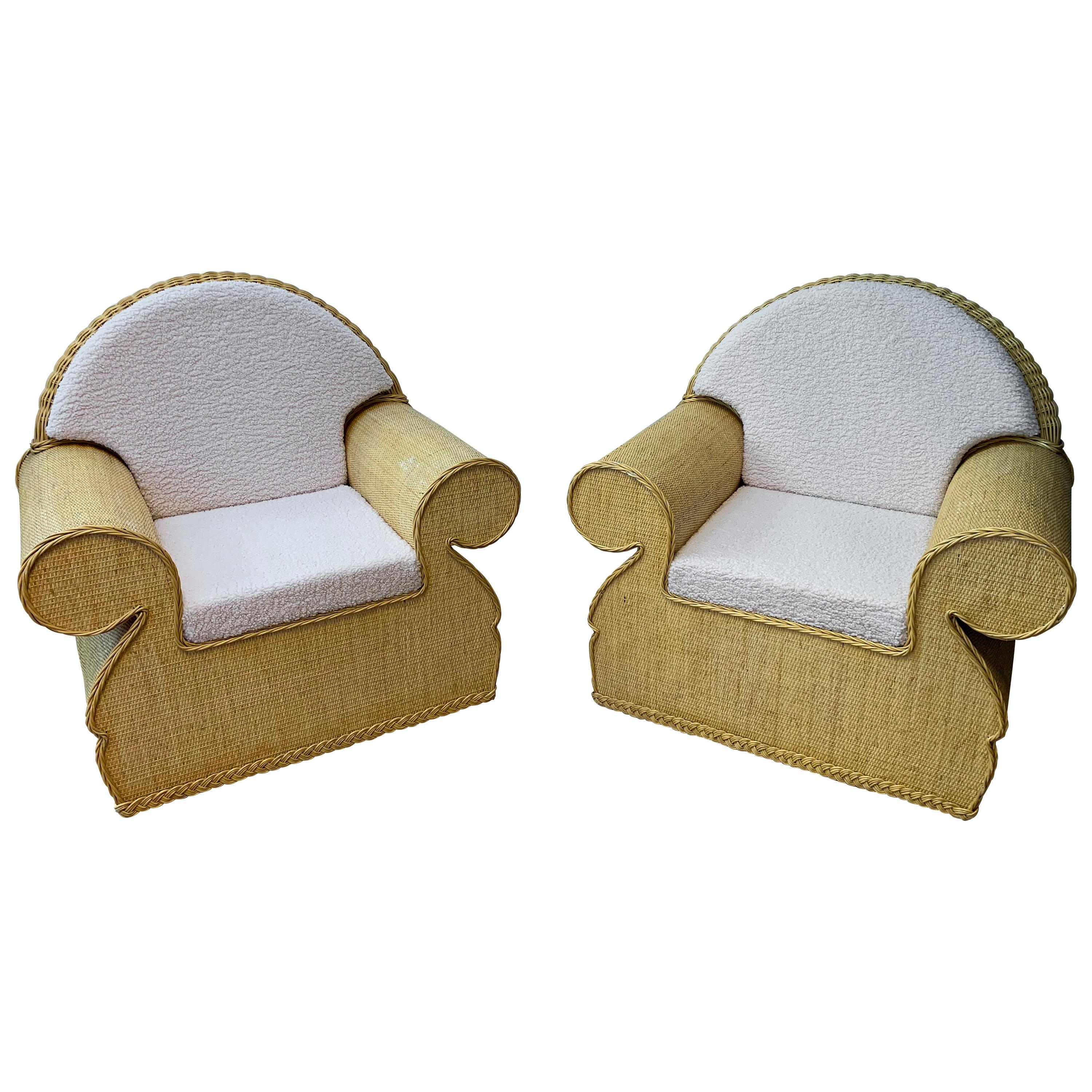 Pair of Rattan Wicker Club Armchairs, Italy, 1970s