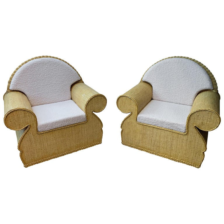 Pair of Rattan Wicker Club Armchairs, Italy, 1970s For Sale