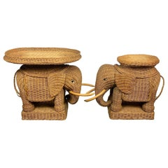 Pair of Rattan Wicker Elephant Tray Tables and Side Tables, France, 1960s