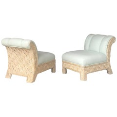 Pair of Rattan Wicker Lounge Chairs, 1980s