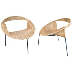 Pair of Rattan Wicker Saturn Armchairs by Gastone Rinaldi, Italy, 1950s