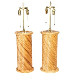 Pair of Rattan Woven Table Lamps with Brass Detail