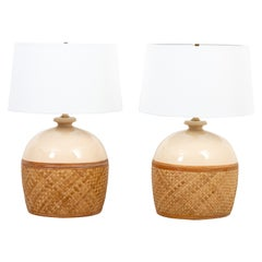 Pair of Rattan Wrapped Table Lamps