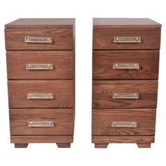 Pair of Raymond Loewy for Mengel 4 Drawer Nightstands with Lucite Handles