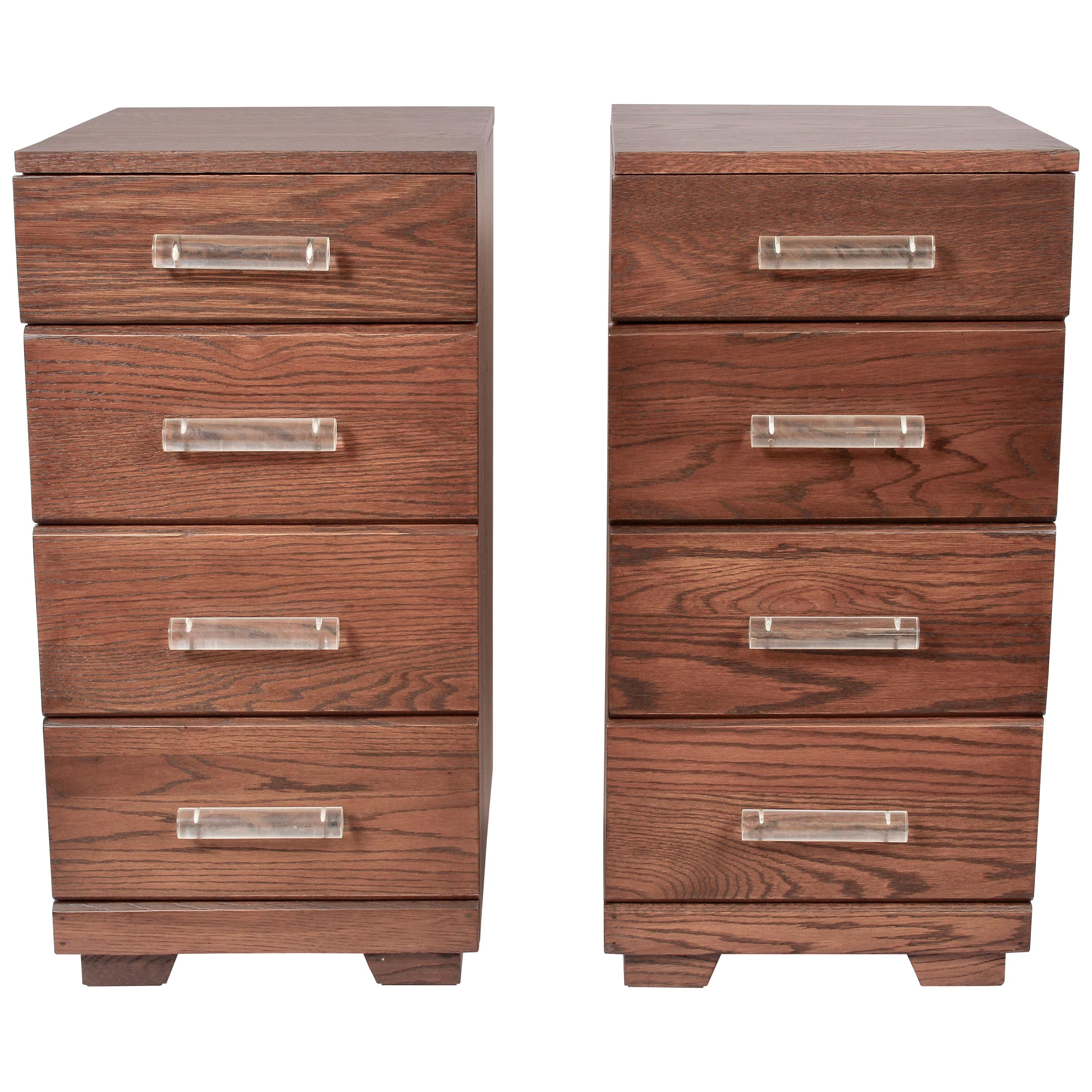 Pair of Raymond Loewy for Mengel Four Drawer Nightstands with Lucite Handles