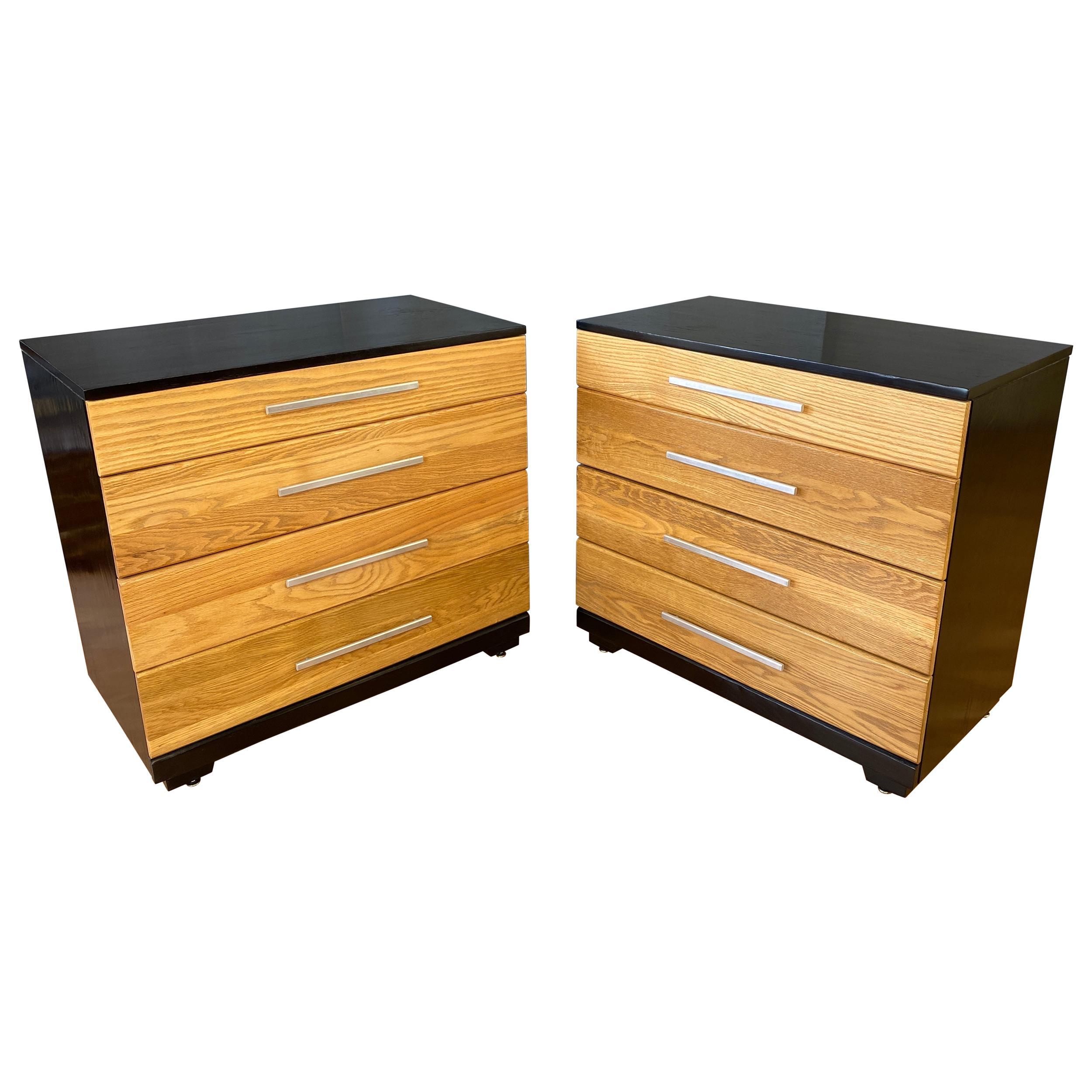 Pair of Raymond Loewy for Mengel, Oak and Ebonized Dressers