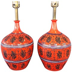 Pair of Raymor Extra-Large Hand-Decorated Reddish-Orange Table Lamps