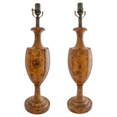 Pair of Re-Constituted Marble Lamps