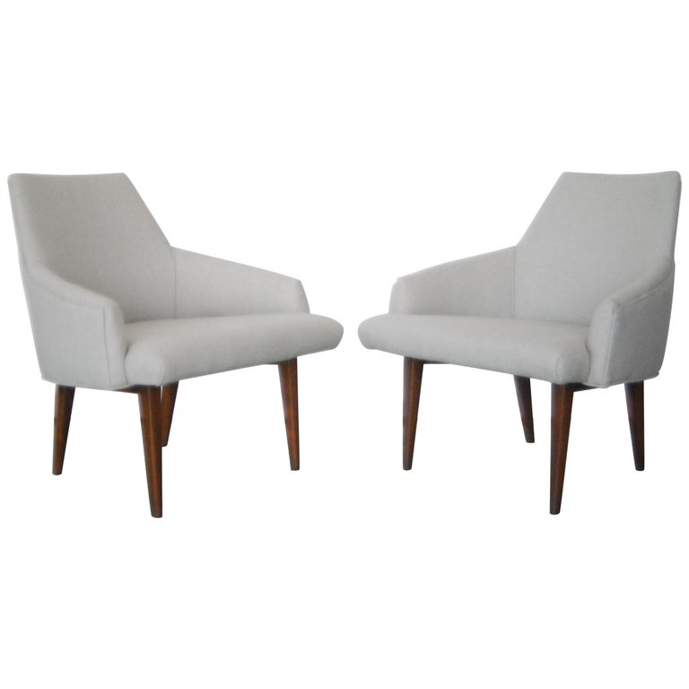 Superb Pair Of Recently Reupholstered Slipper Chairs Theyellowbook Wood Chair Design Ideas Theyellowbookinfo