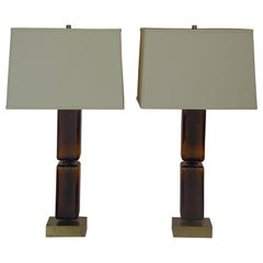 Pair of Reclaimed Amber Glass Block Table Lamps
