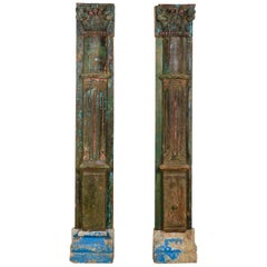 Pair of Reclaimed Antique Indian Pillars, 20th Century