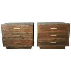 Pair of Reclaimed Oak Nightstands with Brass Detailing