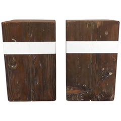 Pair of Reclaimed Wood Cube Tables