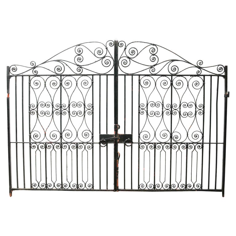 Pair of Reclaimed Wrought Iron Driveway Gates For Sale