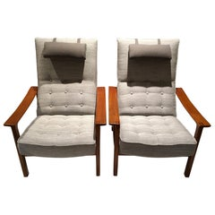 Pair of Reclining Back Armchairs with Teak Frame