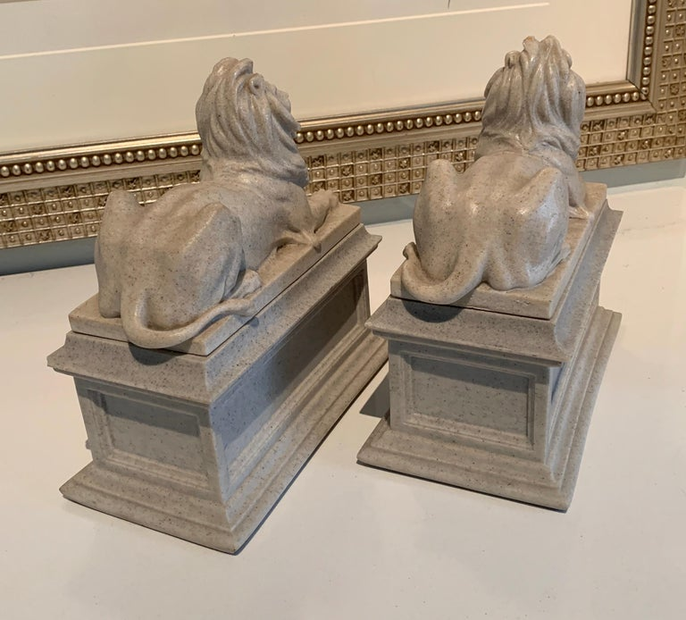 Pair of Reclining Lion Bookends In Good Condition For Sale In Los Angeles, CA