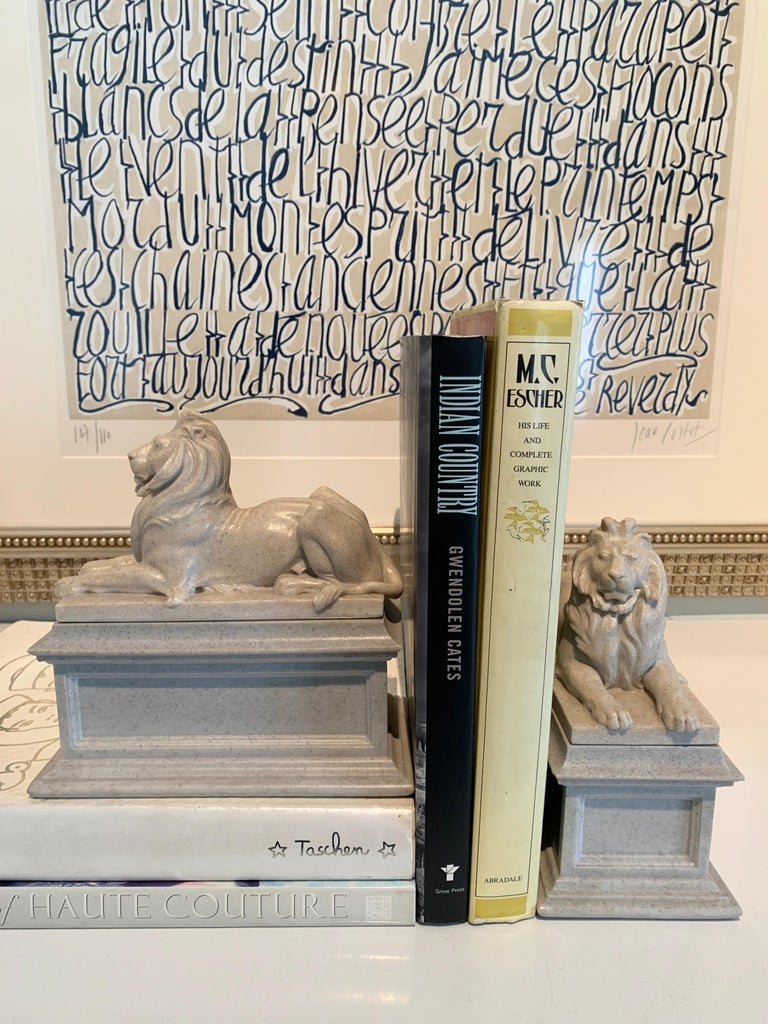 20th Century Pair of Reclining Lion Bookends For Sale