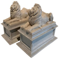 Pair of Reclining Lion Bookends