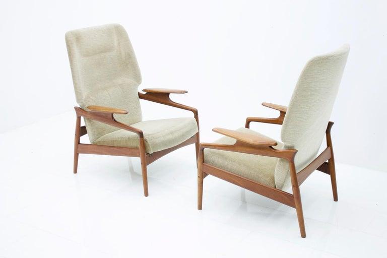 Pair of Reclining Lounge Chairs by John Bone, Denmark, 1960s 3