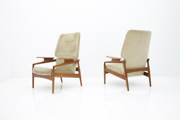Scandinavian Modern Pair of Reclining Lounge Chairs by John Bone, Denmark, 1960s