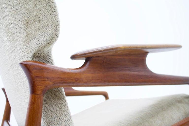 Pair of Reclining Lounge Chairs by John Bone, Denmark, 1960s In Good Condition In Frankfurt / Dreieich, DE