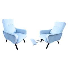 Pair of Reclining Lounge Chairs, Italy, 1960s