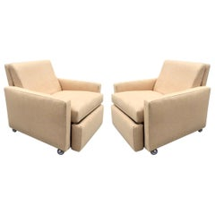Pair of Reclining Lounge Chairs Style of Milo Baughman