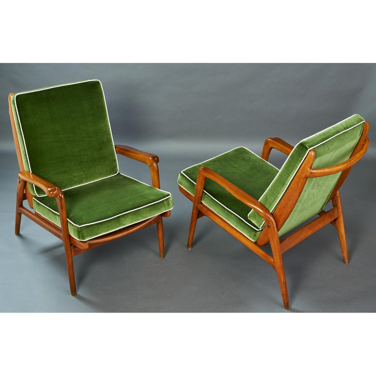 Mid-Century Modern Pair of Reclining Wood Armchairs, Italy, 1950s For Sale