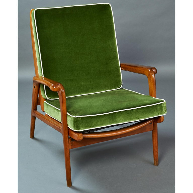 Italian Pair of Reclining Wood Armchairs, Italy, 1950s For Sale