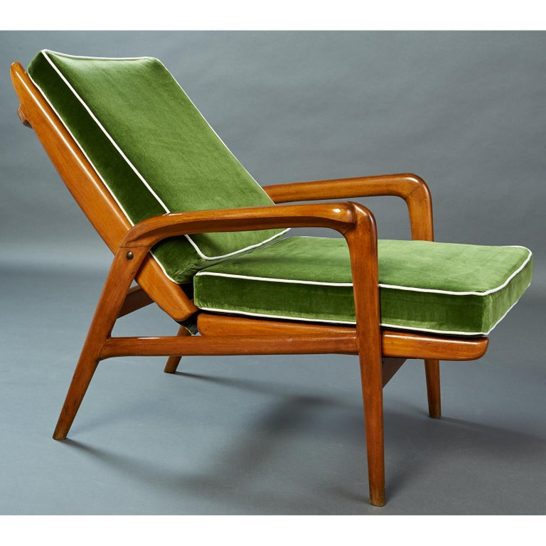 Mid-20th Century Pair of Reclining Wood Armchairs, Italy, 1950s For Sale