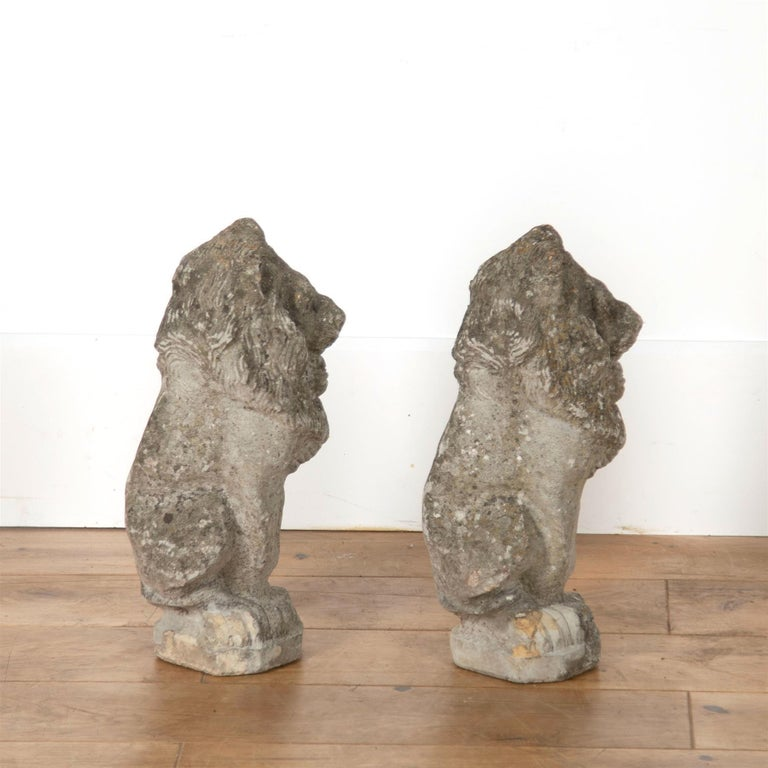 English Pair of Reconstituted Stone Lions For Sale