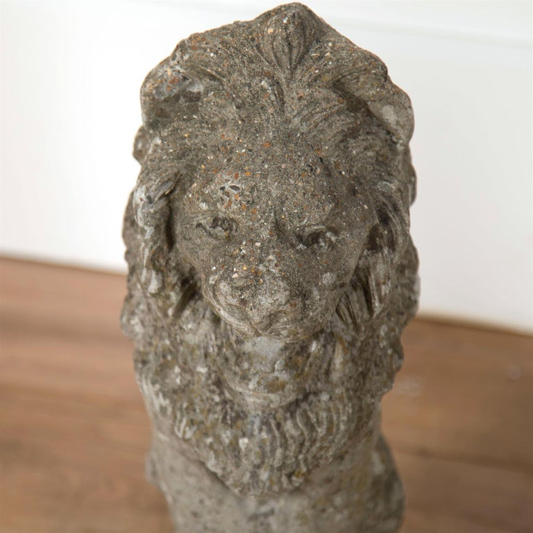 Pair of Reconstituted Stone Lions In Good Condition For Sale In Gloucestershire, GB