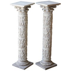 Pair of Reconstituted Stone Roman Style Cast Pillars Display Jardinière Stand