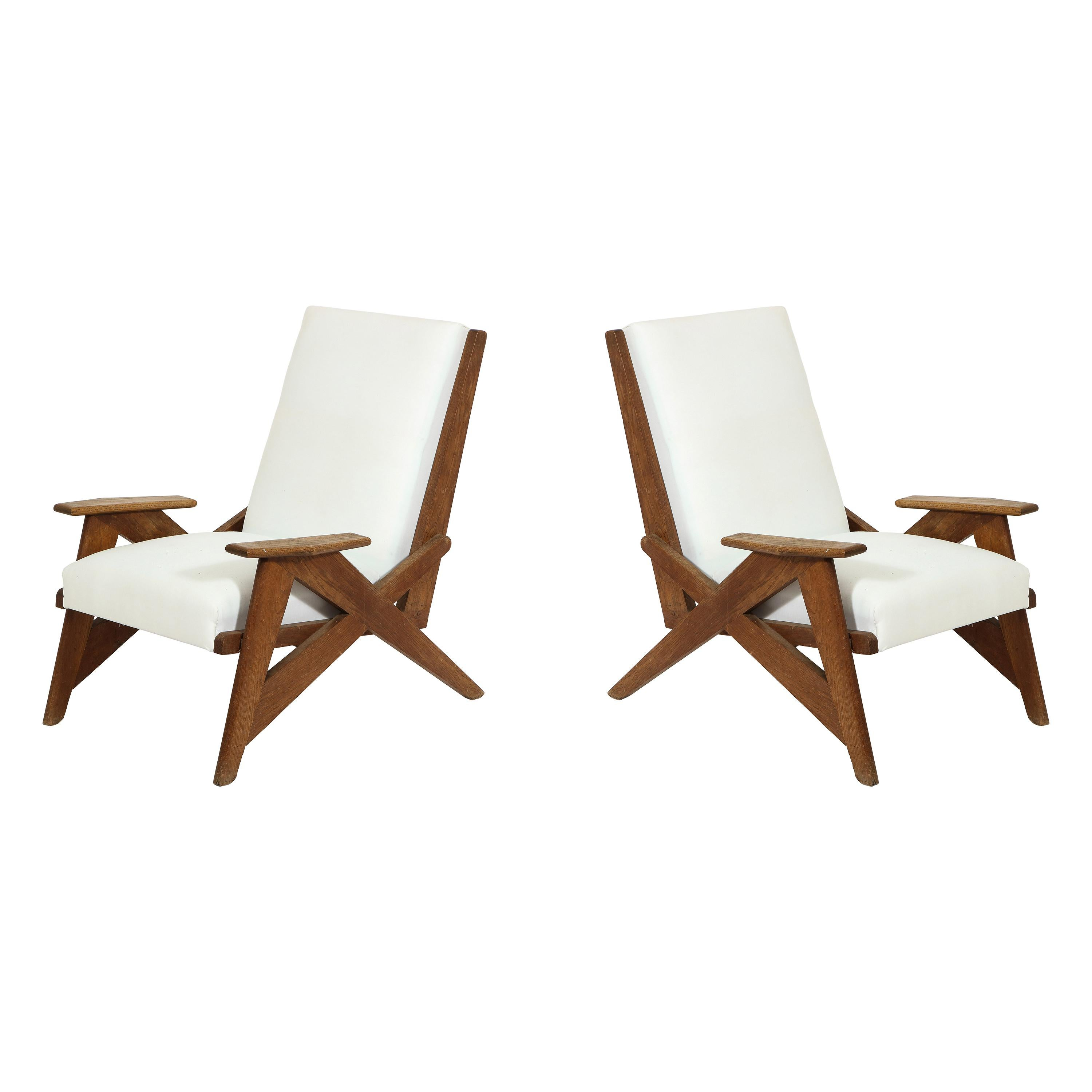 Pair of Reconstruction Armchairs in Oak, France, 1940s