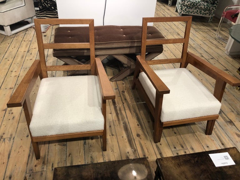 Pair of solid Oak armchairs attributed to Rene Gabriel, newly refinished and upholstered.