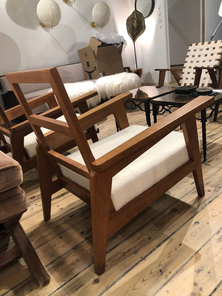 French Pair of Reconstruction Oak Armchairs For Sale