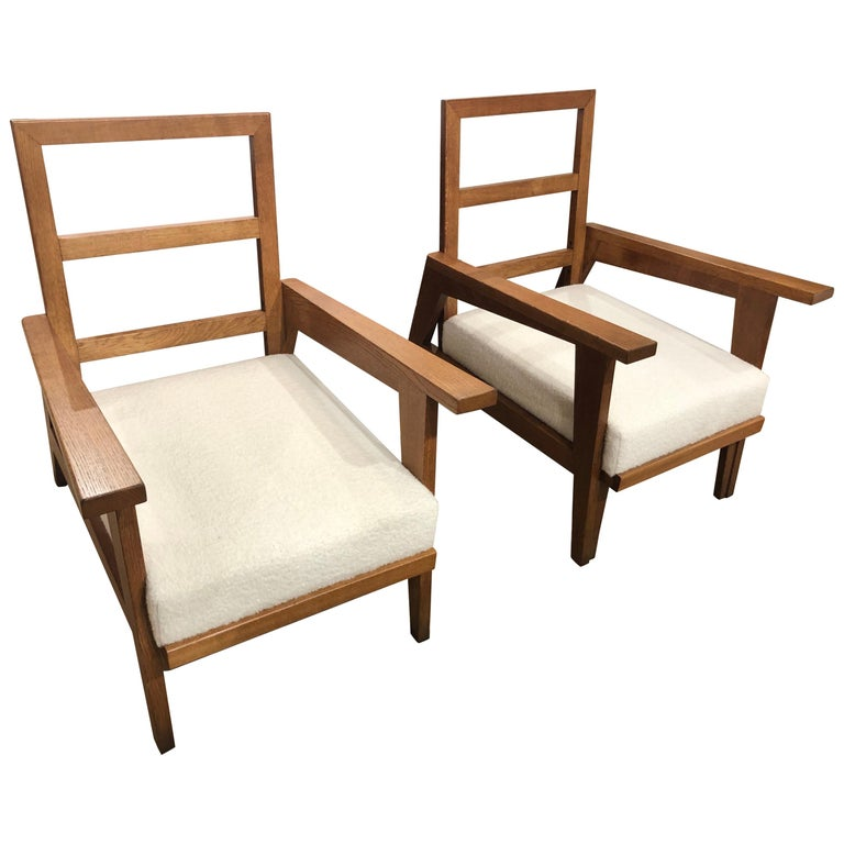 Pair of Reconstruction Oak Armchairs For Sale