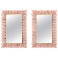 Pair of Rectangular Blush Pink Textured Murano Glass and Brass Mirrors, Italy