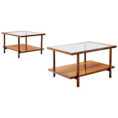 Pair of Rectangular Branco and Preto Coffee Tables in Caviuna Wood, Brazil 1960s