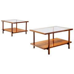 Pair of Rectangular Branco and Preto Coffee Tables in Caviuna Wood, Brazil 1960s