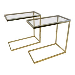 Pair of Rectangular Cantilever Brass and Lucite Side Tables